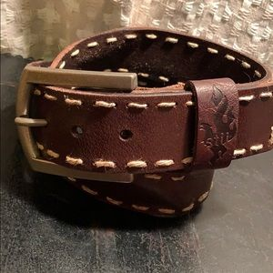 Bed Stu Leather belt w/burlap stitch heavy buckle